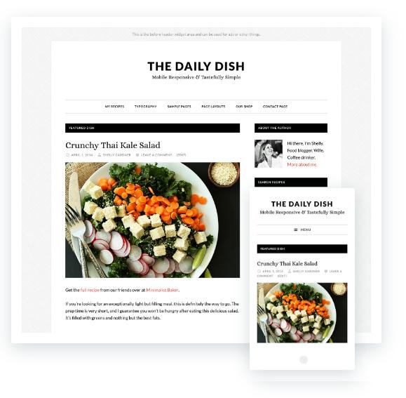 come si crea un blog di cucina, tema premium